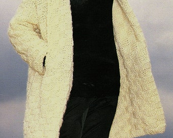 Long Jacket With Raglan Sleeves, Knitting Pattern. PDF Instant Download.