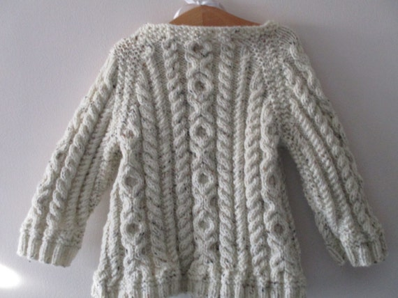 Aran top - traditional  style - handmade - knitted - age up to 2  - toddler - jumper - sweater - geansai arann  - kids knit - unisex styling