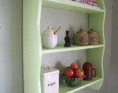 70cm H x 64cm W Pine Green Shelves Kitchen Bathroom Bedroom Shelves Bookcase.