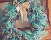 Fabric Tie Knot Wreath - Turquoise Laughter