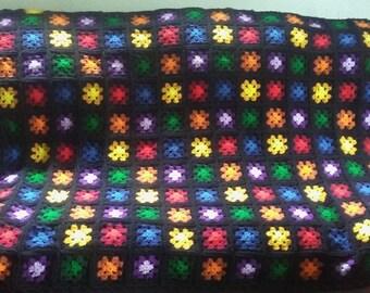 Rainbow Granny Square Afghan