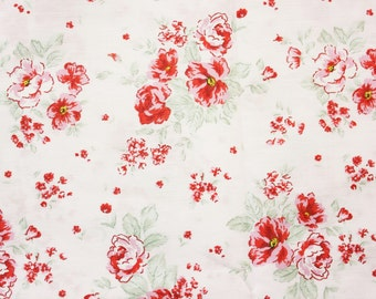 Beautiful Floral Fabric, Japanese Fabric, Cotton Fabric, Red Peonies on White-Pink base with Mint Green leaves, Sewing Supplies, Half Metre