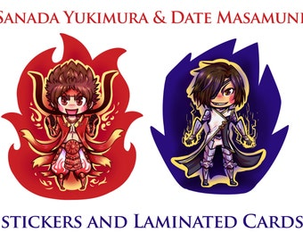 Red and Blue -- Sanada Yukimura Den Stickers and Lami Cards