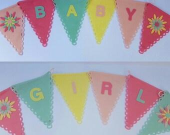 BABY GIRL felt bunting flags