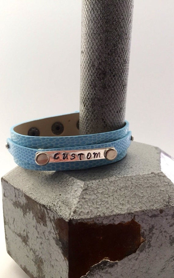 Custom Engraved Jewelry, Customized Leather Cuff, Crossfit Jewelry, Gifts for Women, Hand Stamped Bracelets, Personalized Hand-Stamped Charm