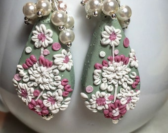 Pink and white bouquet earrings