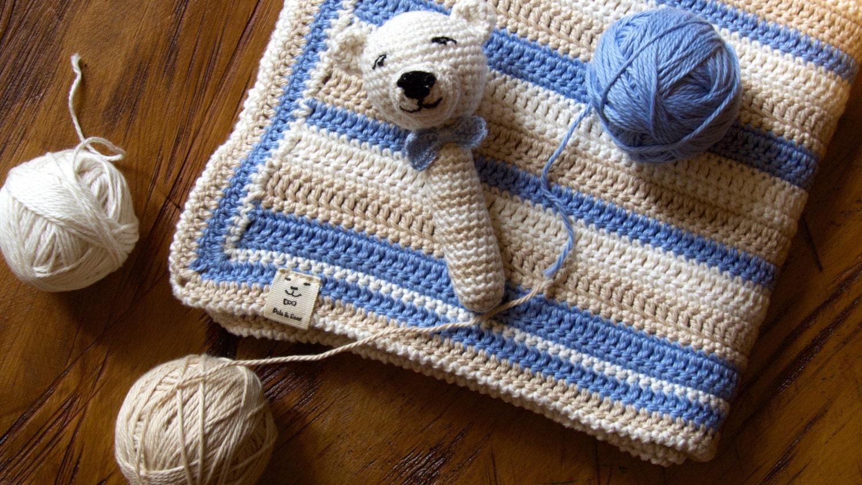 Crochet Baby Blanket Blue Beige and Cream 100% Cotton Yarn