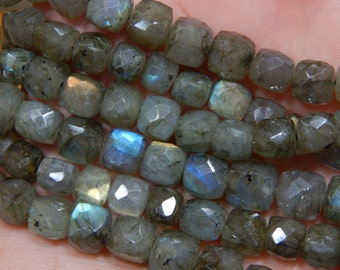 Gemstone Labradorite Blue Flash Faceted Beads Cube Shape 8x9 mm Approx