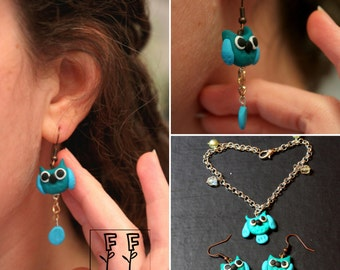 gemstone earrings and armbands Coquette in fimo
