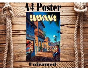 Beautiful Retro A4 Vintage Travel Poster Havana Cuba Unframed