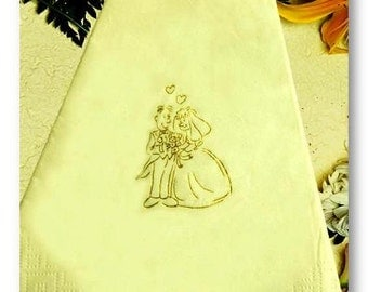 Wedding Napkins - Cutie Couple - Pack of 50 - Foil printed- colour & size choice - FREE UK SHIPPING!