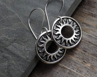 Silver Sun earrings / Celestial earrings / Silver plated sun earrings with sterling ear wires