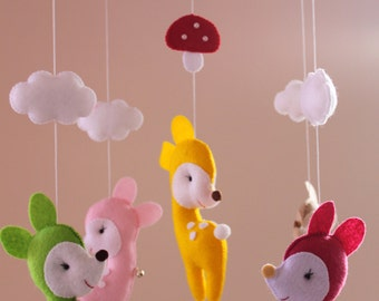 Bamby Felt Baby Mobile, Crib Mobile,  Nursery Mobile, Ready to Ship