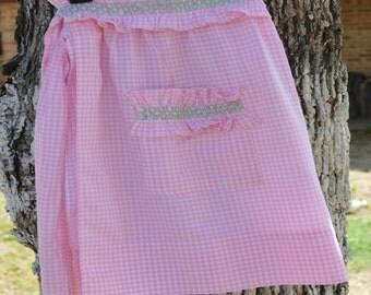 Vintage, Handmade, Half Apron, Pink Gingham, Poly/Cotton, Mint Green  Smocking, Pocket