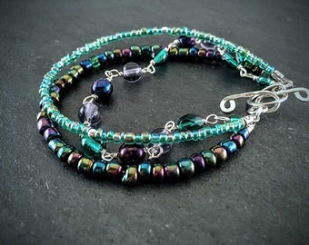 Purple & Teal Iridescent Multi Strand Glass Bracelet