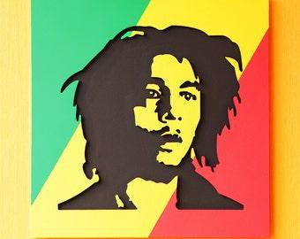 Reggae Star Bob Marley Art wood 3D Canvas Music Poster