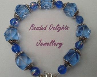 Blue glass and crystal bracelet