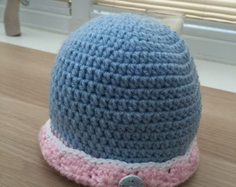Baby Blue and Pink Handmade Crochet Hat