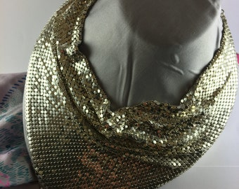 Whiting and Davis Silver Mesh Bib Necklace