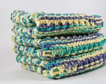 Hand Knit Dishcloth Set - Hand Knit Washcloth - Blue/Yellow/Green Mix