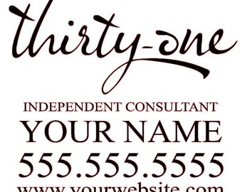 Thirty-One Consultant Personalized & Customized Business Car Decal Sticker