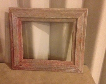 5x7 and 8x10 Distressed Red Barnwood Picture Frames (#538)
