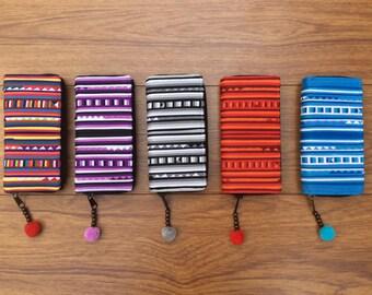 Colorful Lisu hill tribe wallet, Hilltribe money purse, Handmade Lisu Patchwork Hilltribe money wallet