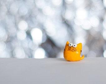Yellow Cat, polymer clay figurine, handmade miniature cat figurine