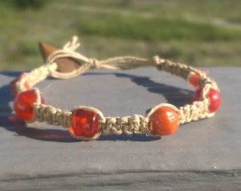 Orange Beaded Natural Hemp Jewelry Bracelet