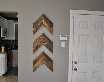 Wood Chevron Arrows -Set of 3,  Rustic Pallet Wood Wall Art, Chevron Decor