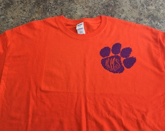 Tiger paw monogram paw tshirt.  With large monogram on back.