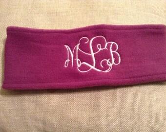 Purple fleece ear warmer with embroidered monogram