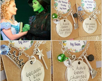 Wicked The Musical  Quote Necklace, Because I knew you I have been changed for good, Jewellery, Jewelry,  Elphaba and Galinda, Friend gift