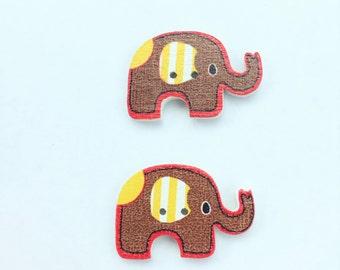 Brown Elephant Button - Craft Scrapbooking Buttons, Embellihment, Craft Supplies, Notions, Wood Buttons - Shankless Button - Nursery Button