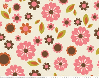 Cotton Fabric Pink Cream Floral Riley Blake Design -Indian Summer C2611 Cream Zoe Pearn RBD- 1/4, 1/2, 1 Yard Increments -Fabric By The Yard