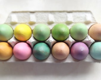 wooden eggs, one dozen pastel hen sized eggs, open ended toy, waldorf and Montessori inspired, nursery decor, nature table