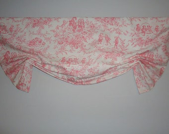 """Nursery Pink Toile London Window Valance  Faux Shade Girls' Baby's Room Tailed Balloon 46"""" wide"""