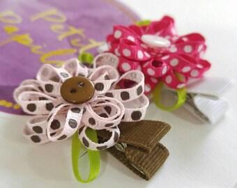 Ribbon Flower Hair Clip - Toddler Hair Barrette - Hair Clip Set - Robbon Flower Hair Clip