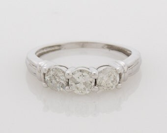 3 Stone Diamond Ring in 14k White Gold