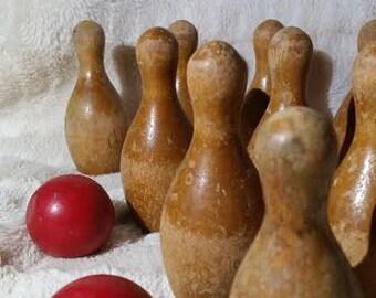 Vintage, Wooden Bowling Game