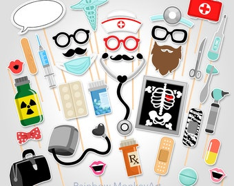 Doctor Party Printable Photo Booth Props - Nurse Photo Booth Props - Medical Photobooth Props - Pharmacist Photo Booth Props