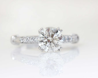 Antique Style Round Solitaire Engagement Ring with a Diamond Shank, Soliatire Ring, Solitaire Engagement Ring, 14K White Gold