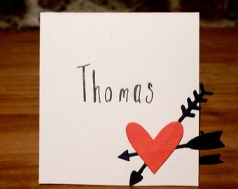 5/pack-Handmade Heart Place Cards