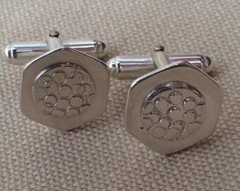 Contemporary silver cufflinks - 'benzene'