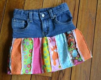 Girls Denim Skirt, Spring Woodland Theme, Upscycled, Size 5 Slim, OOAK