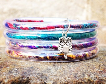 Rainbow colored bulky bangle hand made bracelets, owl charm bracelet, hand spun silk thread bracelets, colorful bracelets, original bangles.
