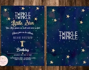 Twinkle Twinkle Little Star Birthday Invitation, Twinkle Twinkle Little Star First Birthday Invitation, Twinkle Twinkle Baby Shower