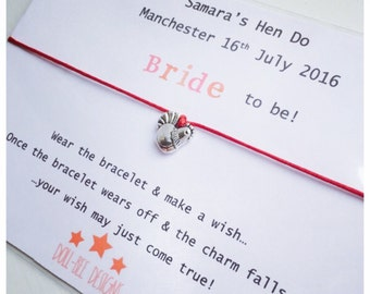 Wishing Bracelet Hen Party Wish Bracelet Gift