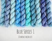 10 Sock Mini Skein Set- 20 yards each- Blue Series 1