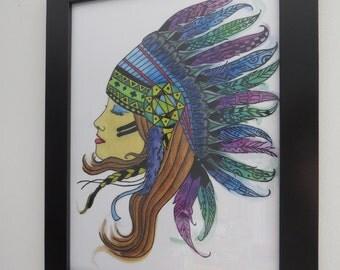Indian headdress girl printable file